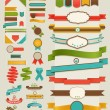 Set of retro ribbons and labels - Vettoriali Stock 