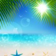 Beautiful seaside view on sunny day with sand — Stock Vector