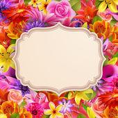 花の背景上のテキストの場所とカード — ストックベクタ