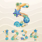 Numbers, vector sea life font on sand background. — Stock Vector