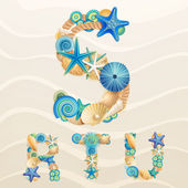 Vector sea life font on sand background — Stock Vector