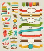 Ensemble d'étiquettes et rubans rétro — Vecteur