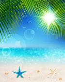 Playa hermosa vista en un día soleado con arena — Vector de stock