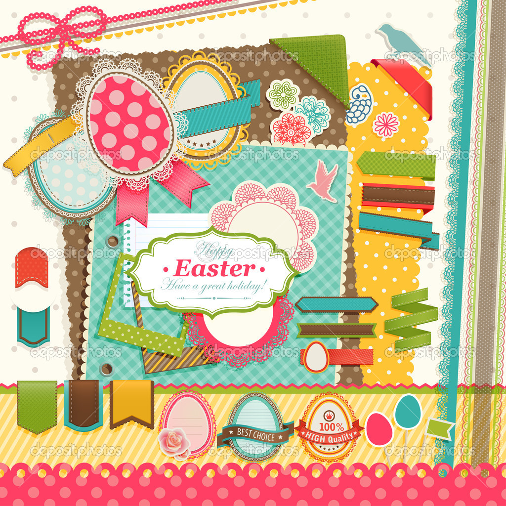 Easter scrapbook elements. Vector illustration. — Stock Vector #9775107