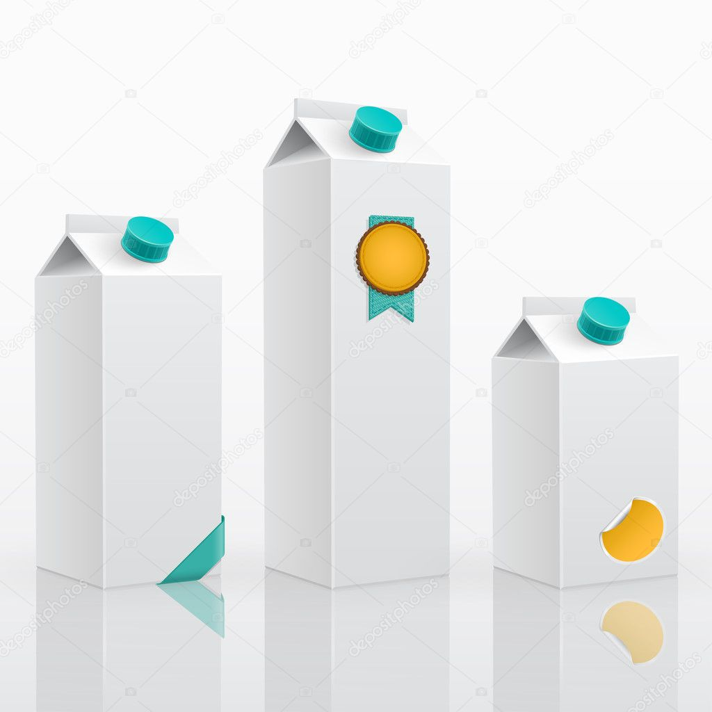 Blank milk or juice pack 3 different sizes. 3d vector illustration. — Imagen vectorial #9775162
