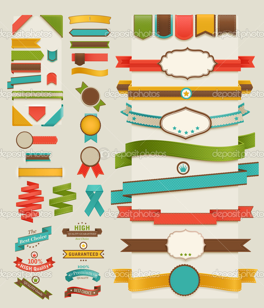 Set of retro ribbons and labels. Vector illustration. — ベクター素材ストック #9775423