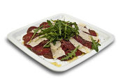 Carpaccio de vitello with special cheese — Stock Photo