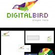 Digital Bird Logo Design — Stock Photo