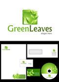 Green Leaves Logo Design — Stock Photo