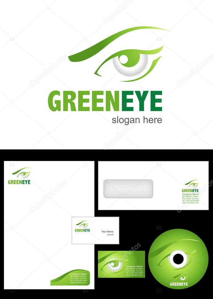 gr nes auge logo design stockfoto 9715924. Black Bedroom Furniture Sets. Home Design Ideas