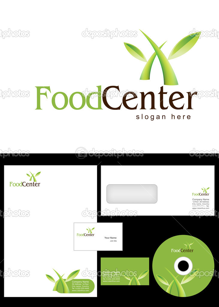 Food Center Logo Design and corporate identity package including logo, letterhead, business card, envelope and cd label. — Stock Photo #9715984