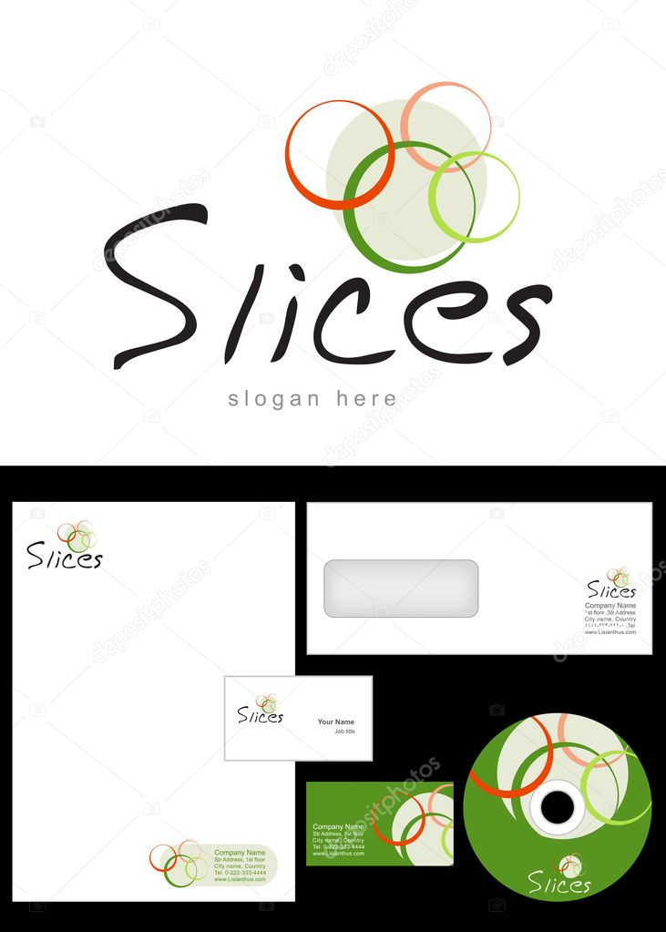 Slices Logo Design and corporate identity package including logo, letterhead, business card, envelope and cd label. — Stock Photo #9716123