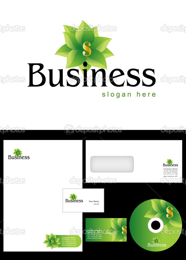 Investment, trading, commerce, Business Logo Design and corporate identity package including logo, letterhead, business card, envelope and cd label. — Stock Photo #9716164