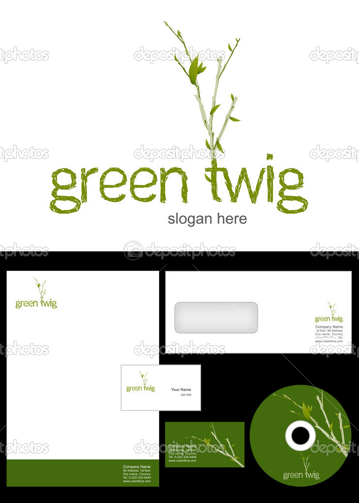 Green Twig Logo Design and corporate identity package including logo, letterhead, business card, envelope and cd label. — Stock Photo #9716645
