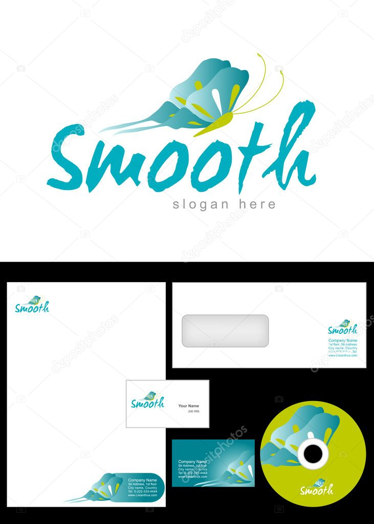 Smooth Logo Design and corporate identity package including logo, letterhead, business card, envelope and cd label. — Stock Photo #9716730