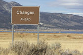 Road Sign - Ahead Series - changes — Stock Photo