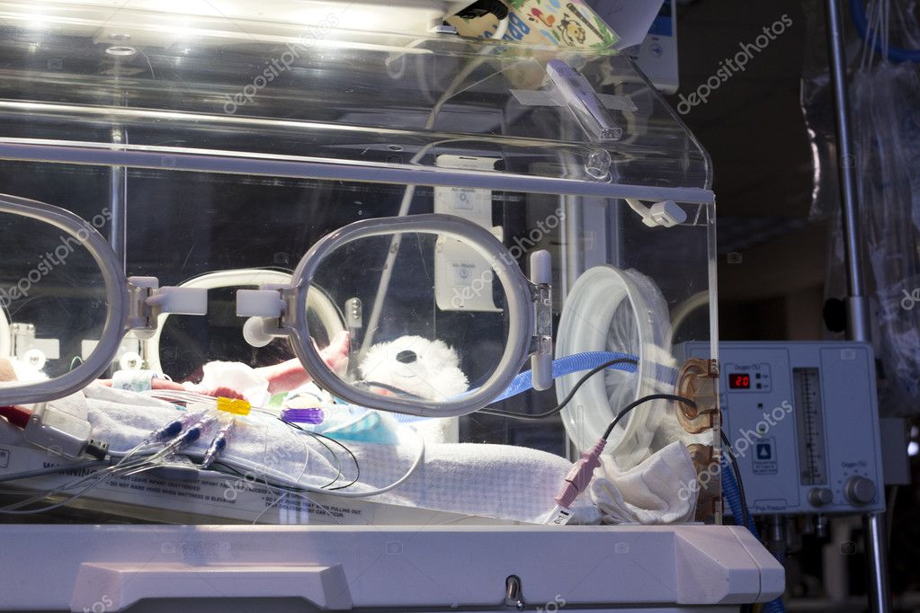 A newborn in an incubator. in the NICU unit  Stockfoto #9279943