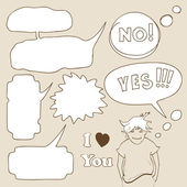 Cartoon speech bubbles with boy in hand-drawn style — Stock Vector
