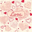 Background with hearts in hand-drawn style — Stock Vector