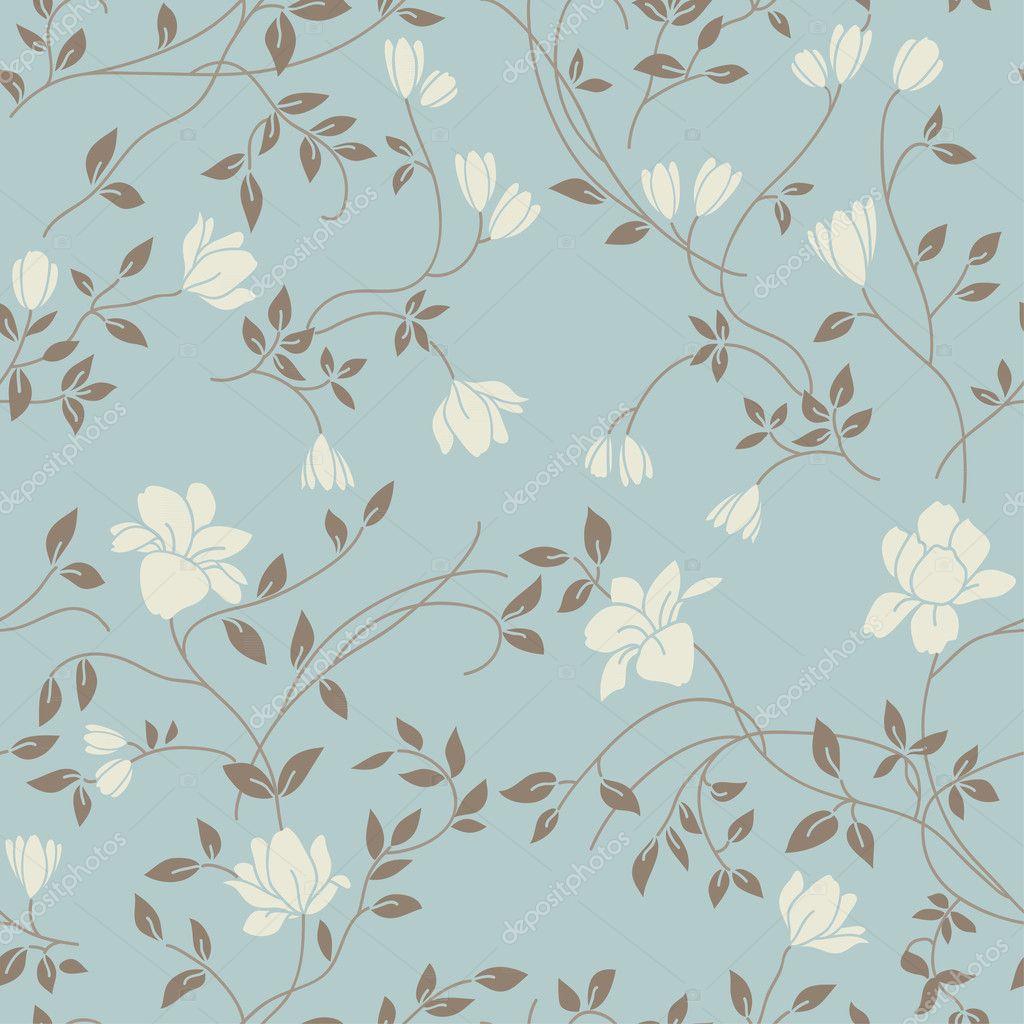Blue Floral Vintage Wallpaper Light floral vintage seamless