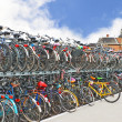 Plenty bicycles at parking lot in — Stock Photo