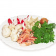 Ingredients seafood salad. — Stock Photo