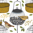 Bird and cage seamless pattern — Imagen vectorial