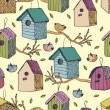 Stock Vector: Birds and starling houses background