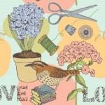 fondo transparente amor con aves y flores — Vector de stock