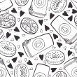 Pattern with coffee and donuts — Stockvectorbeeld