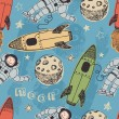 Постер, плакат: Rockets and astronauts in space pattern