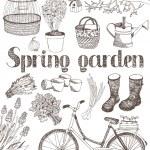 Spring garden card — Stock Vector