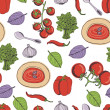 Tomato soup seamless pattern — Stock Vector