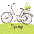 Stock Vector: Vintage bicycle with spring seedlings