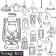 Stock Vector: Vintage lamp set