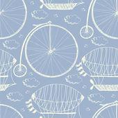 Patrón de rueda grande bicicleta y dirigibles — Vector de stock