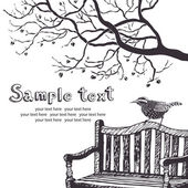 Bird and tree card — Vetorial Stock
