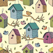 Birds and starling houses background — Stock Vector