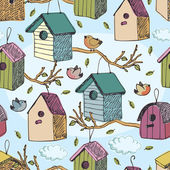 Birds and starling houses pattern — Stock Vector