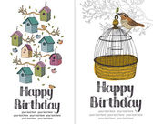 Birds Happy Birthday card — ストックベクタ