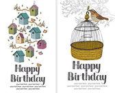 Ptaki szczęśliwy urodziny karty — Wektor stockowy