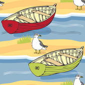 Boats and seagulls background — Stock Vector