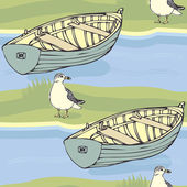 Boats and seagulls pattern — Stock Vector