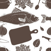 Fish soup pattern — Stock Vector