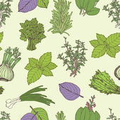 Herbs seamless pattern — ストックベクタ