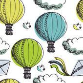 Sıcak hava balonları ve kuşlar arka plan — Stok Vektör