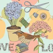 爱鸟和花无缝背景 — 图库矢量图片