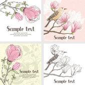 Carte de conception de magnolia et d'oiseaux — Vecteur