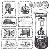 Postal stamps set — Stock Vector