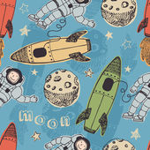 Rockets and astronauts in space pattern — Stok Vektör